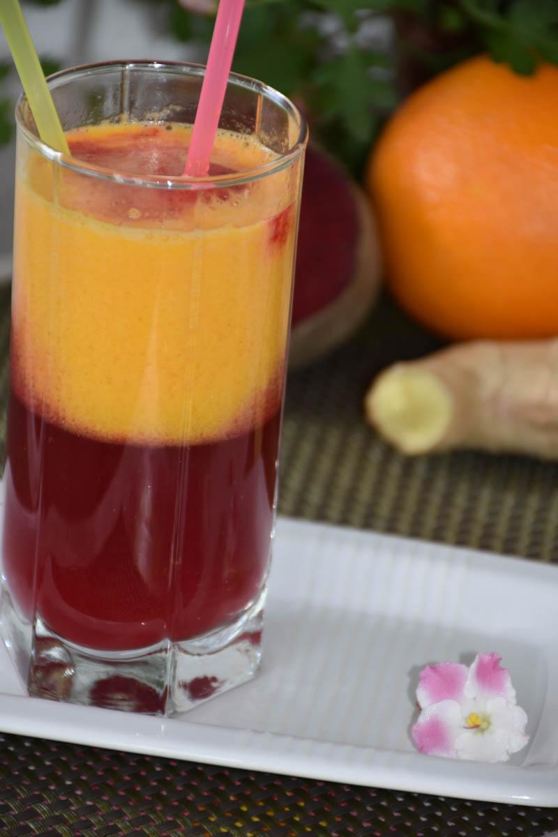 Suc din sfecla rosie,portocala si ghimbir