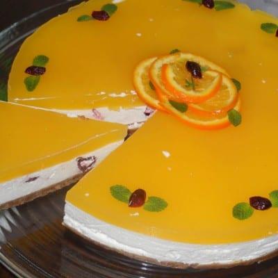 Cheese cake reteta cu crema de iaurt si jeleu de portocale